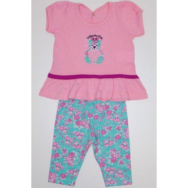conjunto batinha rosa bebe meia malha bordada de urso com bermuda ciclista em cotton rotativo wil 3854 rob 01