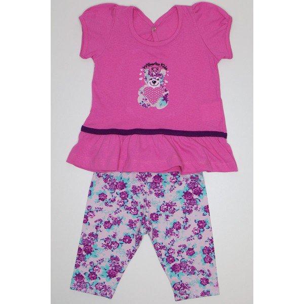 conjunto batinha rosa meia malha bordada de urso com bermuda ciclista em cotton rotativo 3854 01