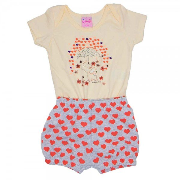 conjunto body cotton creme mescla banana silk de elefante com shorts de moletinho wil 3857 cre 01