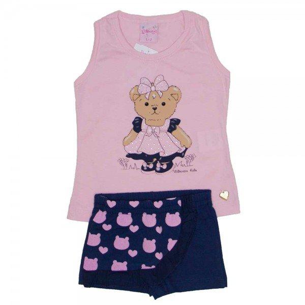 conjunto regata nadador rosa quarts marinho meia malha silk de urso com shorts saia em cotton wil 3873 roq 01