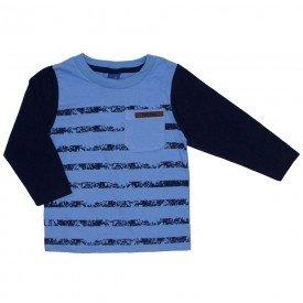camiseta meia malha bolso azul 5282