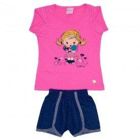 conjunto meia malha rosa silk menina com shorts jeans marinho wil 3864 ros 01