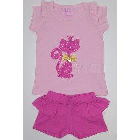 conjunto blusa meia malha rosa quarts rosa com gato termocolante e shorts de cotton wil 3867 roq 01