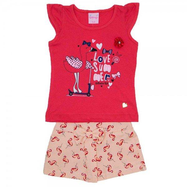 conjunto blusa meia malha magenta silk flamingo com shorts de tricoline rotativo de flamingo wil 3868 mag 01