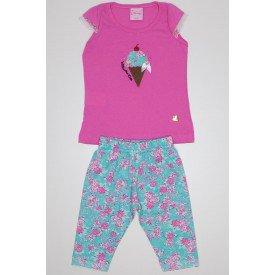conjunto blusa meia malha rosa bordada sorvete com ciclista de cotton rotativo wil 3870 ros 01