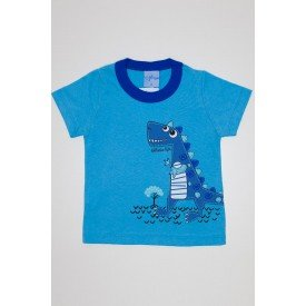 camisa meia malha azul ceu avulsa silk de dinossauro 3932 01