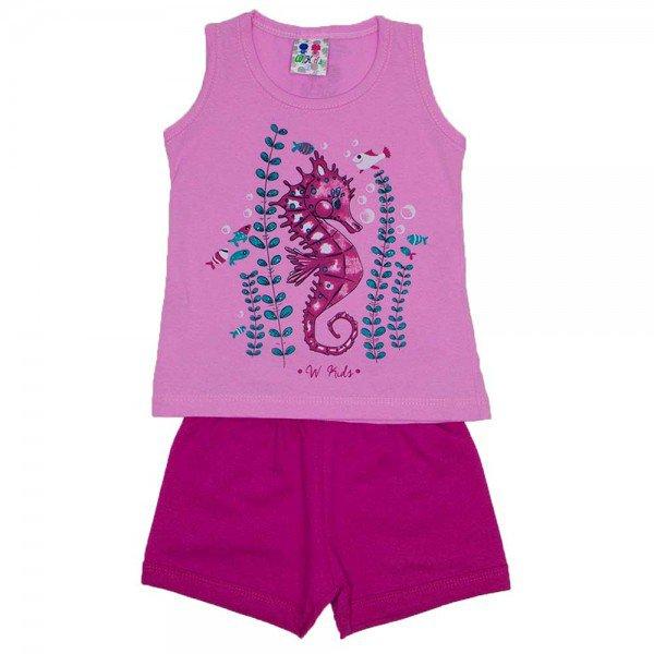 conjunto menina regata rosa estampa fundo mar com glitter e shorts pink wkd 126 ros 01