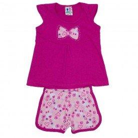 conjunto menina pink detalhe strass shorts estampado wki 290 pin 01
