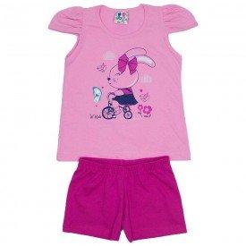 conjunto menina rosa chiclete shorts pink wki 294 chi 01
