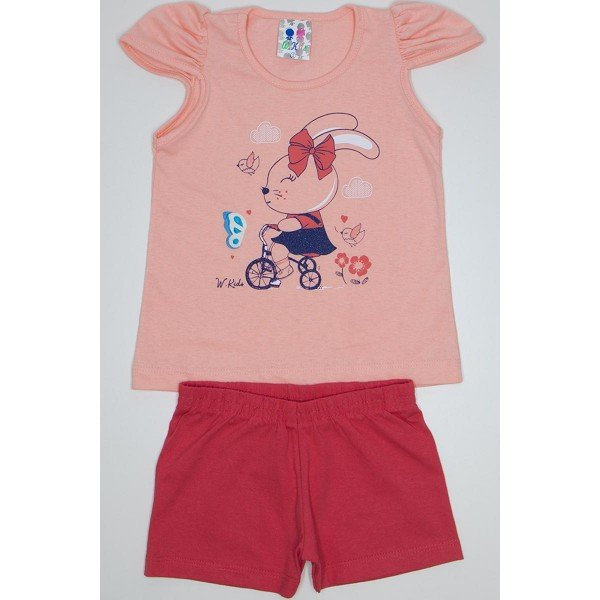 conjunto menina salmao shorts magenta wki 294 sal 01