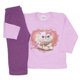conjunto de moletom rosa com roxo 3775