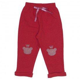 calca de moletom joelheira ursinho vermelho 3629