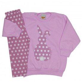 conjunto menina coelhinho poa rosa 3600
