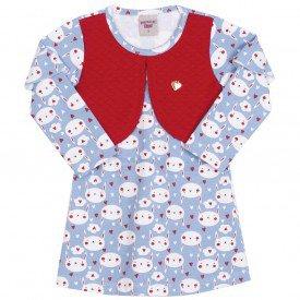vestido estampado coelhinhos azul 3627