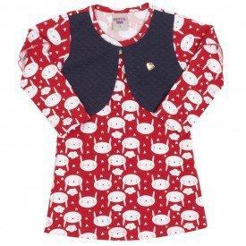 vestido estampado coelhinhos vermelho 3627