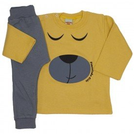 conjunto casaco e calca de moletom amarelo mostarda 3662