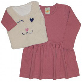 conjunto de vestido rosa blush com colete 3625