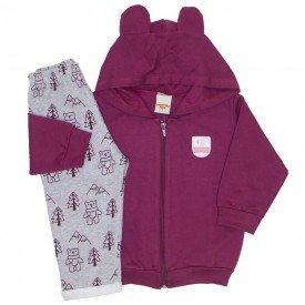conjunto jaqueta e calca de moletom bordo 3658