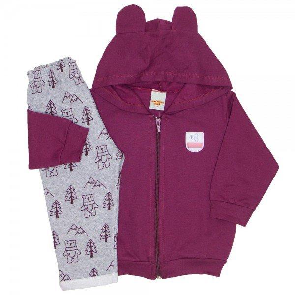 2edc3cbc3 conjunto jaqueta e calca de moletom bordo 3658