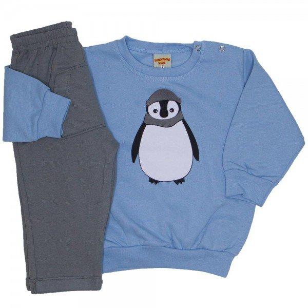 conjunto blusa e calca de moletom azul 3661