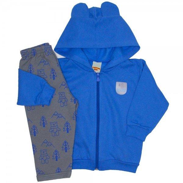 conjunto jaqueta e calca de moletom azul 3658