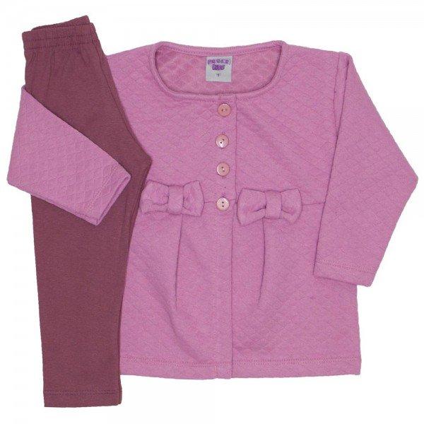 conjunto casaco de moletom rosa e legging 3614