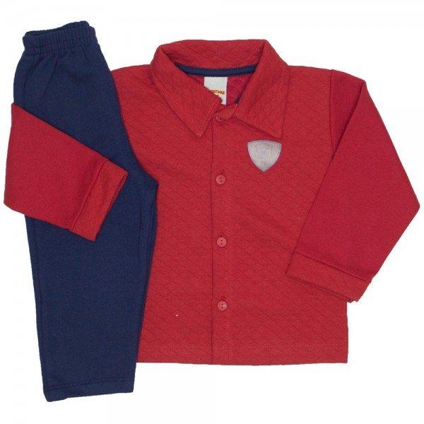 conjunto casaco e calca de moletom vermelho 3659