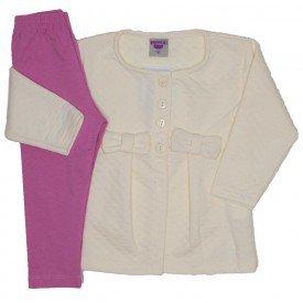 conjunto casaco de moletom off white e legging 3614