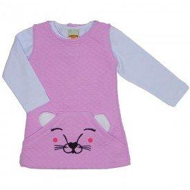conjunto vestido e blusa rosa 3609