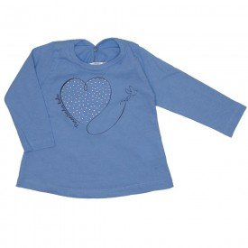 blusa meia malha azul coracao strass 3607