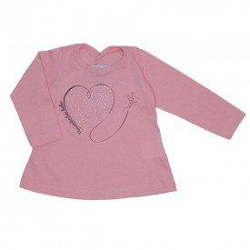 blusa meia malha rosa bebe coracao strass 3607