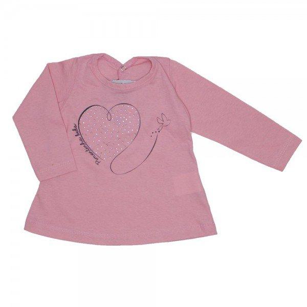 blusa meia malha rosa bebe coracao strass 3607 4ed0574b5e2