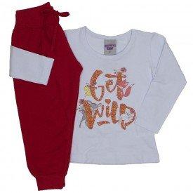 conjunto blusa branca e calca get wild 3619
