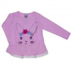 blusa meia malha coelhinho rosa 3623