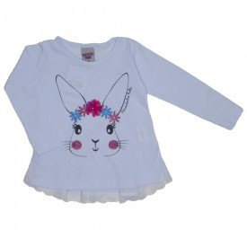 blusa meia malha coelhinho branca 3623