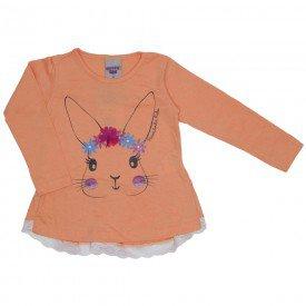 blusa meia malha coelhinho laranja 3623