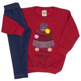 conjunto blusa vermelha e legging 3616