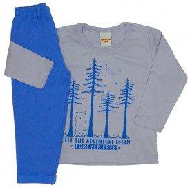 conjunto camiseta cinza claro e calca 3676