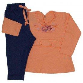 conjunto blusa coral e legging jeans 3604
