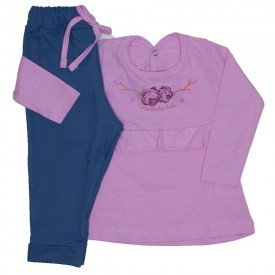 conjunto blusa rosa e legging jeans 3604