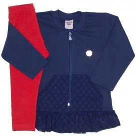 conjunto jaqueta de moletom com legging marinho 3615