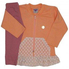 conjunto jaqueta de moletom salmao com legging 3615