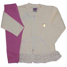 conjunto jaqueta de moletom com legging of white 3615