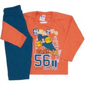 conjunto de moletom blusa laranja e calca petroleo 367