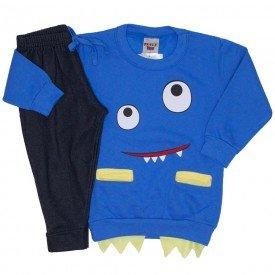 conjunto blusa e calca de moletom azul 3675