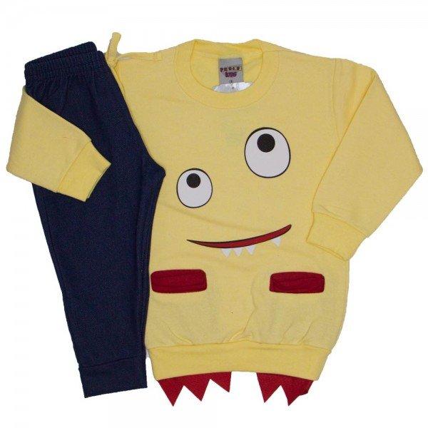 conjunto blusa e calca de moletom amarelo 3675