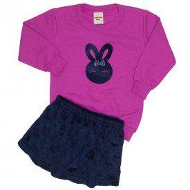 conjunto blusa pink e saia coelhinho 3618