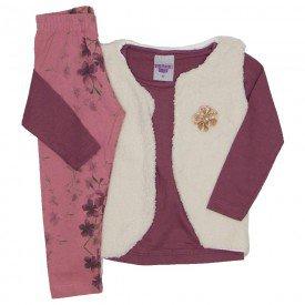 conjunto 3 pecas blusa rosa blush colete e legging 3617
