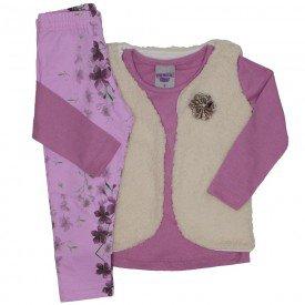 conjunto 3 pecas blusa rosa bebe legging e colete 3617