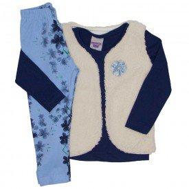 conjunto 3 pecas blusa marinho legging e colete 3617